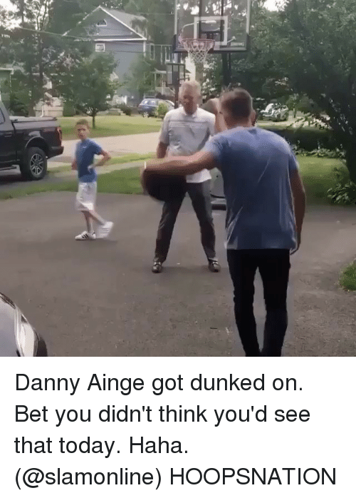 dunked on: Danny Ainge got dunked on. Bet you didn't think you'd see that today. Haha. (@slamonline) HOOPSNATION