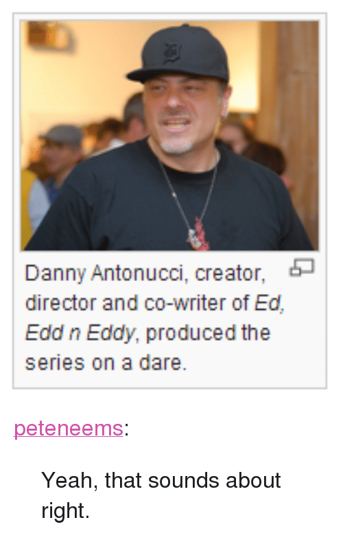 """Edd N Eddy: Danny Antonucci, creator,  director and co-writer of Ed  Edd n Eddy, produced the  series on a dare. <p><a class=""""tumblr_blog"""" href=""""http://peteneems.tumblr.com/post/84284069915/yeah-that-sounds-about-right"""" target=""""_blank"""">peteneems</a>:</p> <blockquote> <p>Yeah, that sounds about right.</p> </blockquote>"""