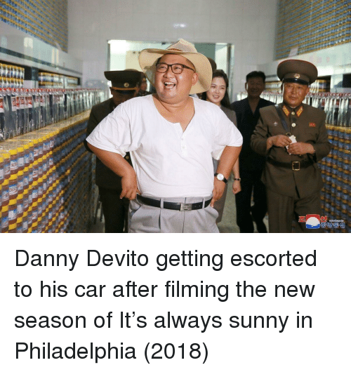 Always Sunny In: Danny Devito getting escorted to his car after filming the new season of It's always sunny in Philadelphia (2018)