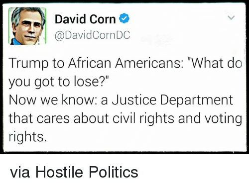 """Voting Rights: David Corn  @DavidCornDC  Trump to African Americans: """"What do  you got to lose?""""  Now we know: a Justice Department  that cares about civil rights and voting  rights. via Hostile Politics"""
