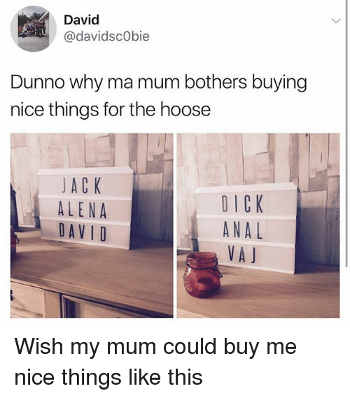 Analment: David  @davidscObie  Dunno why ma mum bothers buying  nice things for the hoose  JACK  ALENA  DAVID  DICK  ANAL  VA J Wish my mum could buy me nice things like this