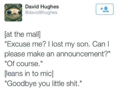 "Shit, Lost, and Announcement: David Hughes  @david8hughes  [at the mal]  ""Excuse me? I lost my son. Can I  please make an announcement?""  ""Of course.""  [leans in to mic]  ""Goodbye you little shit."""