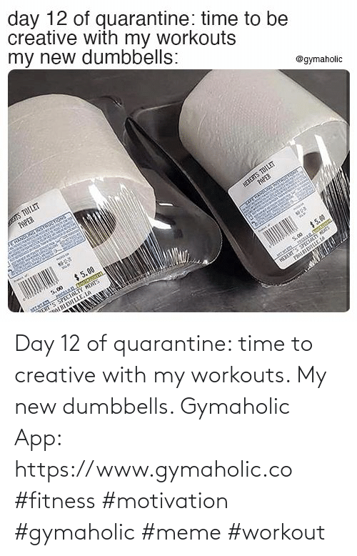 My New: Day 12 of quarantine: time to creative with my workouts. My new dumbbells.  Gymaholic App: https://www.gymaholic.co  #fitness #motivation #gymaholic #meme #workout