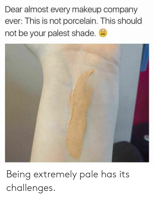 Makeup, Shade, and Company: Dear almost every makeup company  ever: This is not porcelain. This should  not be your palest shade. Being extremely pale has its challenges.