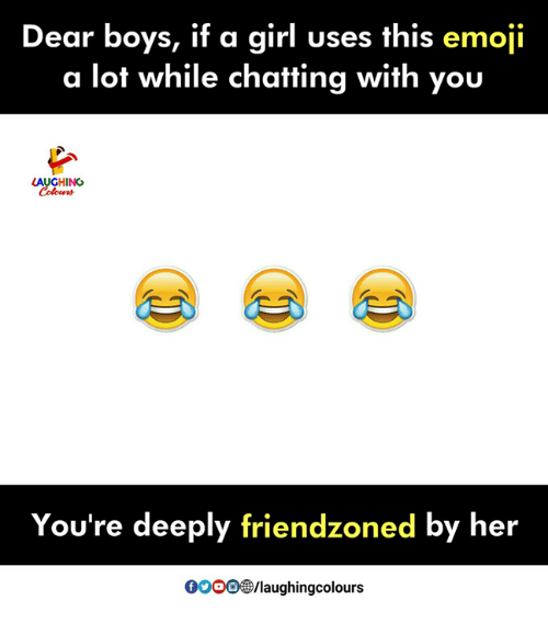 Emoji, Girl, and Indianpeoplefacebook: Dear boys, if a girl uses this emoji  a lot while chatting with you  LAUGHING  You're deeply friendzoned by her  0000®/laughingcolours