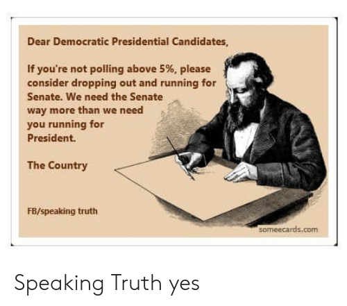 Someecards, Truth, and Running: Dear Democratic Presidential Candidates  If you're not polling above 5%, please  consider dropping out and running for  Senate. We need the Senate  way more than we need  you running for  President.  The Country  FB/speaking truth  someecards.com Speaking Truth yes