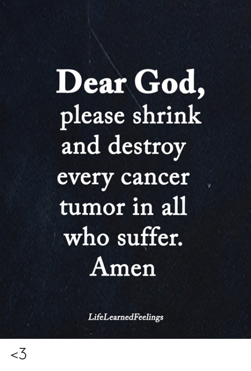 God, Memes, and Cancer: Dear God,  please shrink  and destrov  every cancer  tumor in all  who suffer  Amen  LifeLearnedFeelings <3