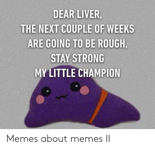 Rough: DEAR LIVER,  THE NEXT COUPLE OF WEEKS  ARE GOING TO BE ROUGH,  STAY STRONG  MY LITTLE CHAMPION Memes about memes II