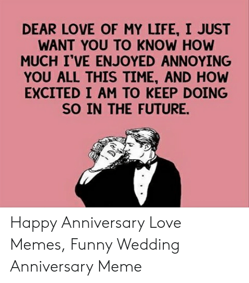 Love Wife Meme: DEAR LOVE OF MY LIFE, I JUST  WANT YOU TO KNOW HOW  MUCH I'VE ENJOYED ANNOYING  YOU ALL THIS TIME, AND HOW  EXCITED I AM TO KEEP DOING  SO IN THE FUTURE. Happy Anniversary Love Memes, Funny Wedding Anniversary Meme