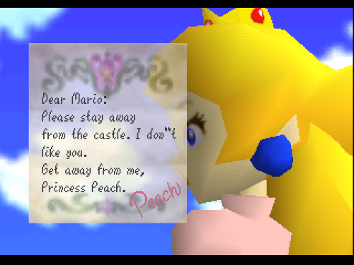 """Mario, Princess, and The Castle: Dear Mario  Please stay away  from the castle. I don""""t  fike you  bet away from me,  Princess Peach.  Pegch"""