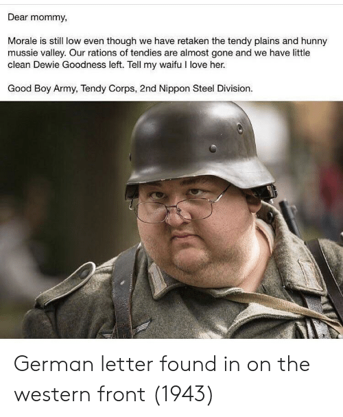 morale: Dear mommy,  Morale is still low even though we have retaken the tendy plains and hunny  mussie valley. Our rations of tendies are almost gone and we have little  clean Dewie Goodness left. Tell my waifu I love her.  Good Boy Army, Tendy Corps, 2nd Nippon Steel Division. German letter found in on the western front (1943)