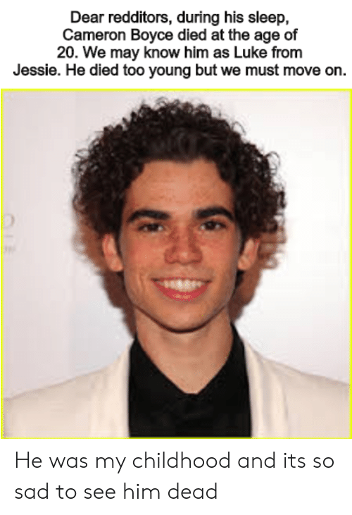 Dear Redditors During His Sleep Cameron Boyce Died At The Age Of