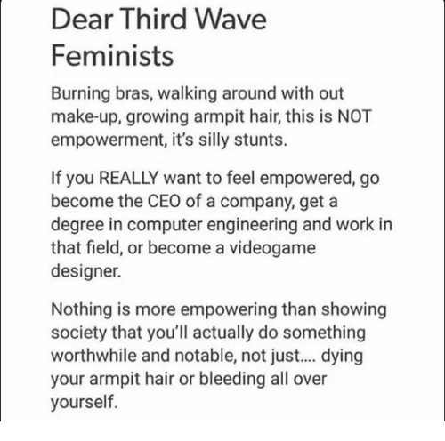Notability: Dear Third Wave  Feminists  Burning bras, walking around with out  make-up, growing armpit hair, this is NOT  empowerment, it's silly stunts.  If you REALLY want to feel empowered, go  become the CEO of a company, get a  degree in computer engineering and work in  that field, or become a videogame  designer.  Nothing is more empowering than showing  society that you'll actually do something  worthwhile and notable, not just... dying  your armpit hair or bleeding all over  yourself.