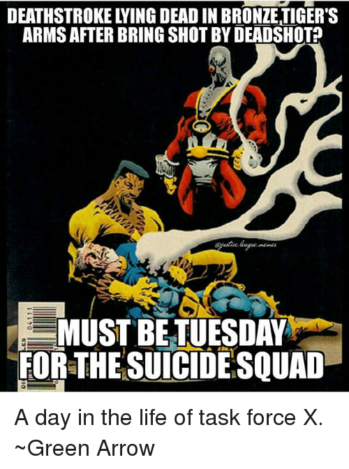 task force: DEATHSTROKE LYING DEAD IN BRONZE TIGER'S  ARMS AFTER BRING SHOT BY DEADSHOTA  MUST BETUESDAY  FOR-THE SUICIDE SQUAD A day in the life of task force X. ~Green Arrow