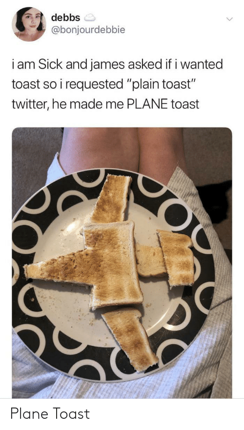 """Twitter, Toast, and Sick: debbs  @bonjourdebbie  i am Sick and james asked if i wanted  toast so i requested """"plain toast""""  twitter, he made me PLANE toast  O Plane Toast"""