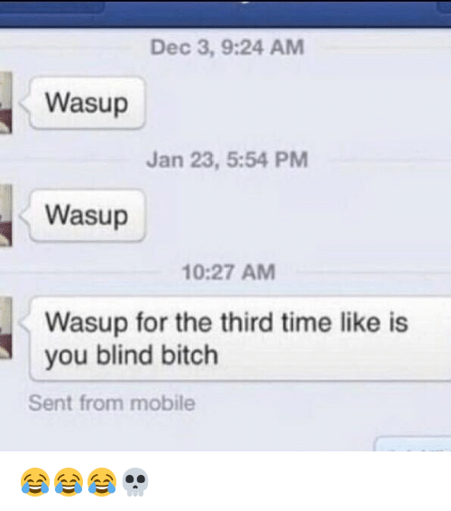 Bitch, Funny, and Mobile: Dec 3, 9:24 AM  Wasup  Jan 23, 5:54 PM  Wasup  10:27 AM  Wasup for the third time like is  you blind bitch  Sent from mobile 😂😂😂💀