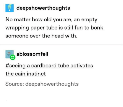 Head, Tube, and Old: deepshowerthoughts  No matter how old you are, an empty  wrapping paper tube is still fun to bonk  someone over the head with  ablossomfell  #seeing a cardboard tube activates  the cain instinct  Source: deepshowerthoughts .