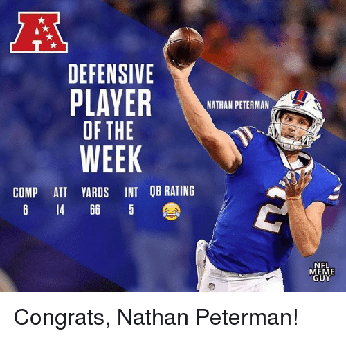 Meme Guy: DEFENSIVE  NATHAN PETERMAN  OF THE  WEEK  COMP ATT YARDS INT QB RATING  6 14 66 5  NFL  MEME  GUY Congrats, Nathan Peterman!