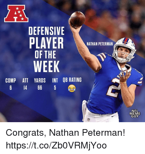 Meme Guy: DEFENSIVE  NATHAN PETERMAN  OF THE  WEEK  COMP ATT YARDS INT QB RATING  6 14 66 5  NFL  MEME  GUY Congrats, Nathan Peterman! https://t.co/Zb0VRMjYoo