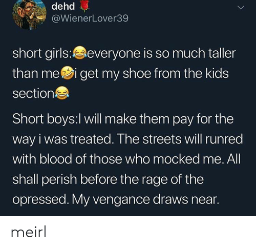 Girls, Streets, and Kids: dehd  @WienerLover39  short girls:everyone is so much taller  than mei get my shoe from the kids  section  Short boys:l will make them pay for the  way i was treated. The streets will runred  with blood of those who mocked me. All  shall perish before the rage of the  opressed. My vengance draws near. meirl