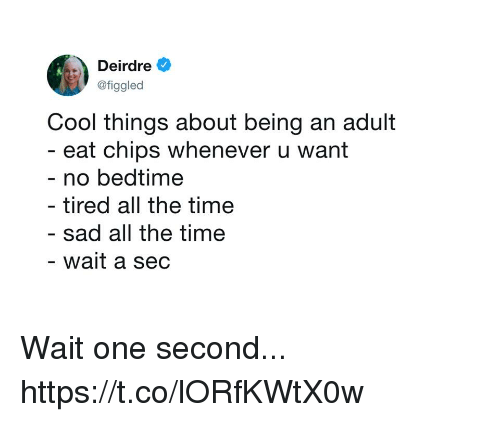 Being an Adult, Funny, and Cool: Deirdre  @figgled  Cool things about being an adult  eat chips whenever u want  no bedtime  - tired all the time  sad all the time  wait a sec Wait one second... https://t.co/lORfKWtX0w