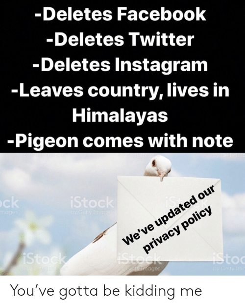 toc: -Deletes Facebook  Deletes Twitter  Deletes Instagram  -Leaves country, lives in  Himalayas  -Pigeon comes with note  Stoc  our  is  We've updated  privacy policy  toc  ages  by Getty Im You've gotta be kidding me