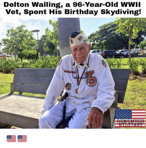 Birthday, Memes, and Old: Delton Walling, a 96-Year-Old WWII  Vet, Spent His Birthday Skydiving! 🇺🇸🇺🇸