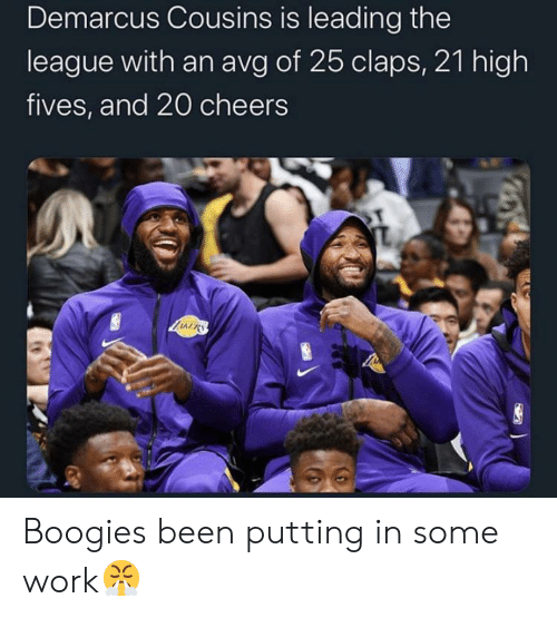 DeMarcus Cousins: Demarcus Cousins is leading the  league with an avg of 25 claps, 21 high  fives, and 20 cheers  LIARS Boogies been putting in some work😤
