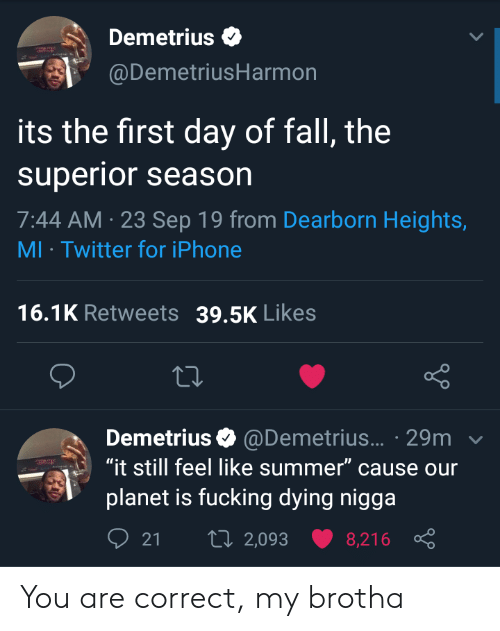 "Season 7: Demetrius  @DemetriusHarmon  its the first day of fall, the  superior season  7:44 AM 23 Sep 19 from Dearborn Heights,  MI Twitter for iPhone  16.1K Retweets  39.5K Likes  Demetrius @Demetrius... 29m  ""it still feel like summer"" cause our  planet is fucking dying nigga  t 2,093  21  8,216 You are correct, my brotha"