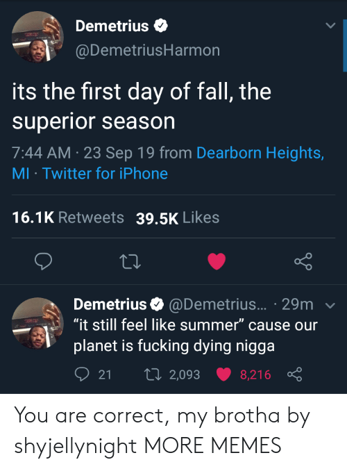 "Season 7: Demetrius  @DemetriusHarmon  its the first day of fall, the  superior season  7:44 AM 23 Sep 19 from Dearborn Heights,  MI Twitter for iPhone  16.1K Retweets  39.5K Likes  Demetrius @Demetrius... 29m  ""it still feel like summer"" cause our  planet is fucking dying nigga  t 2,093  21  8,216 You are correct, my brotha by shyjellynight MORE MEMES"