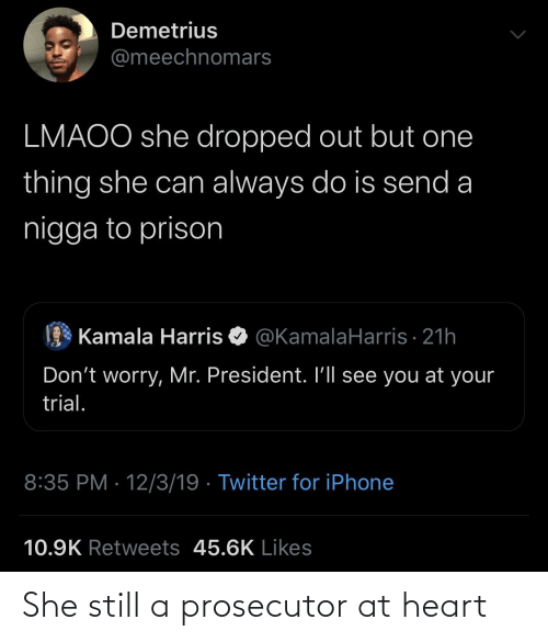 kamala: Demetrius  @meechnomars  LMAOO she dropped out but one  thing she can always do is send a  nigga to prison  Kamala Harris O @KamalaHarris · 21h  Don't worry, Mr. President. I'll see you at your  trial.  8:35 PM · 12/3/19 · Twitter for iPhone  10.9K Retweets 45.6K Likes She still a prosecutor at heart