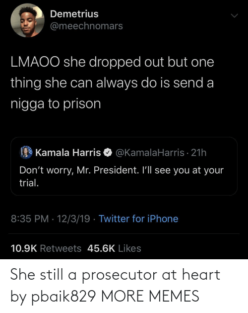Prison: Demetrius  @meechnomars  LMAOO she dropped out but one  thing she can always do is send a  nigga to prison  Kamala Harris O @KamalaHarris · 21h  Don't worry, Mr. President. I'll see you at your  trial.  8:35 PM · 12/3/19 · Twitter for iPhone  10.9K Retweets 45.6K Likes She still a prosecutor at heart by pbaik829 MORE MEMES