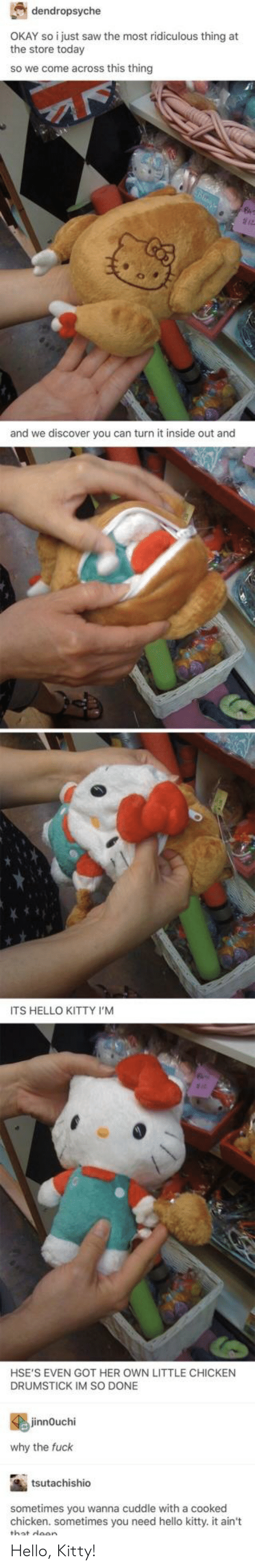 Hello, Inside Out, and Saw: dendropsyche  OKAY so i just saw the most ridiculous thing at  the store today  so we come across this thingg  and we discover you can turn it inside out and  ITS HELLO KITTY I'M  HSE'S EVEN GOT HER OWN LITTLE CHICKEN  DRUMSTICK IM SO DONE  jinnOuchi  why the fuck  tsutachishio  sometimes you wanna cuddle with a cooked  chicken. sometimes you need hello kitty. it ain't  wllo kittyit an Hello, Kitty!
