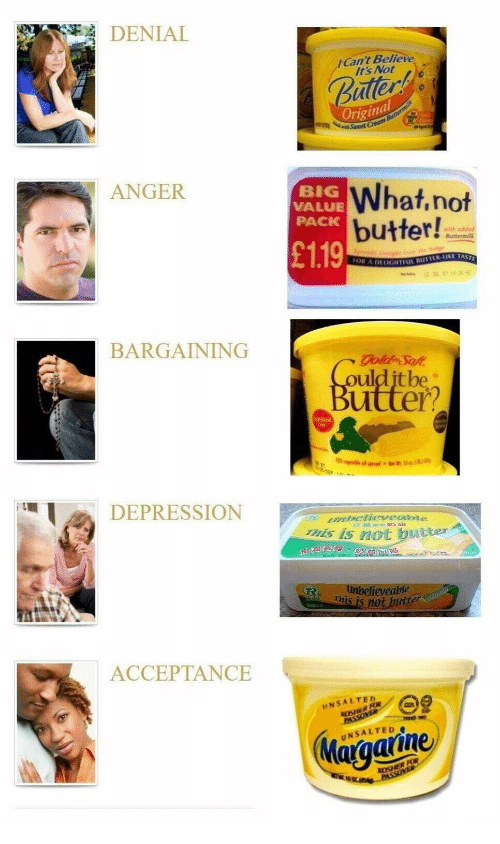 Depression, Gold, and Passover: DENIAL  Can't Believe  It's Not  Ballert  Original  Sweet Cream Buttermilk  ANGER  BIG  VALUE  PACK  What,not  butter!  £1.19  with added  Buttermilk  Sprceds itrighc rm  FOR A DEUIGNTENL BUTTER LIKE TAST  BARGAINING  gold Sof  COulditbe  Butter?  Csten  igtableo l  /  DEPRESSION  H mbelieveabe  This is not butter  e  unbelieveable  This is not butter  250  ACCEPTANCE  NSALTED  KOSHER FOR  PASSOVER  Margarine  UNSALTED  KOSHER FOR  NO PASSOVER