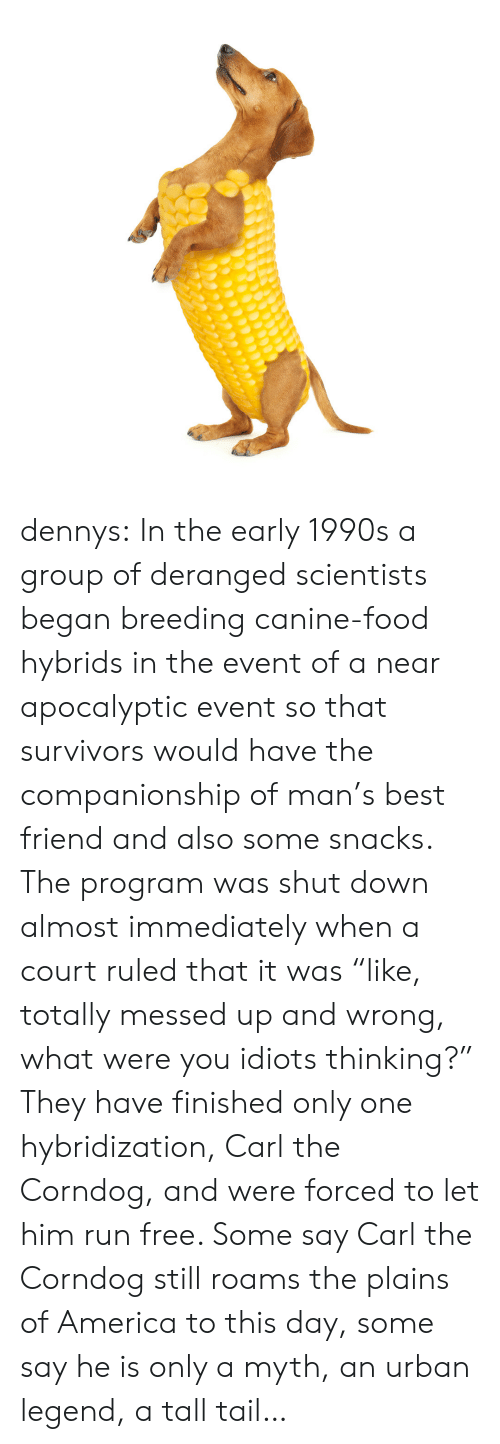 """America, Best Friend, and Denny's: dennys:  In the early 1990s a group of deranged scientists began breeding canine-food hybrids in the event of a near apocalyptic event so that survivors would have the companionship of man's best friend and also some snacks. The program was shut down almost immediately when a court ruled that it was """"like, totally messed up and wrong, what were you idiots thinking?"""" They have finished only one hybridization, Carl the Corndog, and were forced to let him run free. Some say Carl the Corndog still roams the plains of America to this day, some say he is only a myth, an urban legend, a tall tail…"""