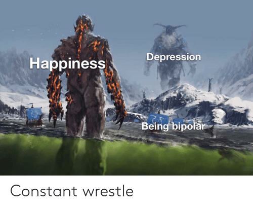 wrestle: Depression  Наppiness  Being bipolar Constant wrestle