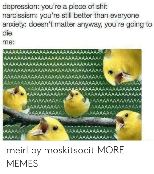 Dank, Memes, and Shit: depression: you're a piece of shit  narcissism: you're still better than everyone  anxiety: doesn't matter anyway, you're going to  die  me: meirl by moskitsocit MORE MEMES