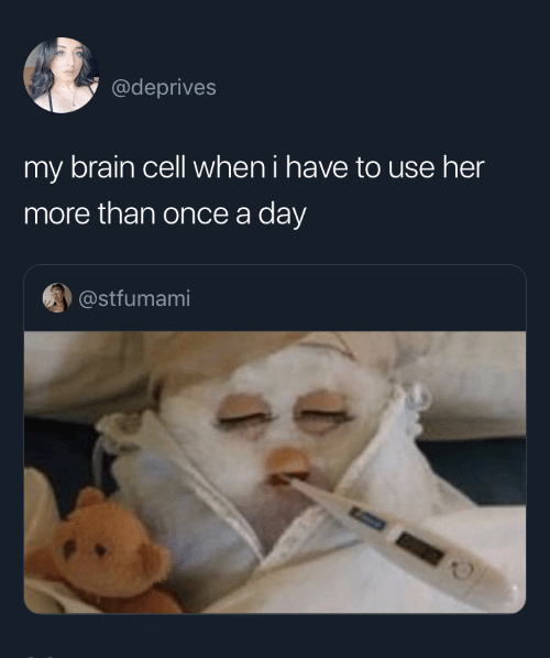 Brain, Her, and Once: @deprives  my brain cell when i have to use her  more than once a day  @stfumami