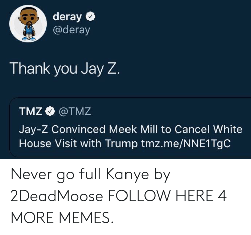 Meek Mill: deray  @deray  Thank you Jay Z  TMZ @TMZ  Jay-Z Convinced Meek Mill to Cancel White  House Visit with Trump tmz.me/NNE1TgC Never go full Kanye by 2DeadMoose FOLLOW HERE 4 MORE MEMES.