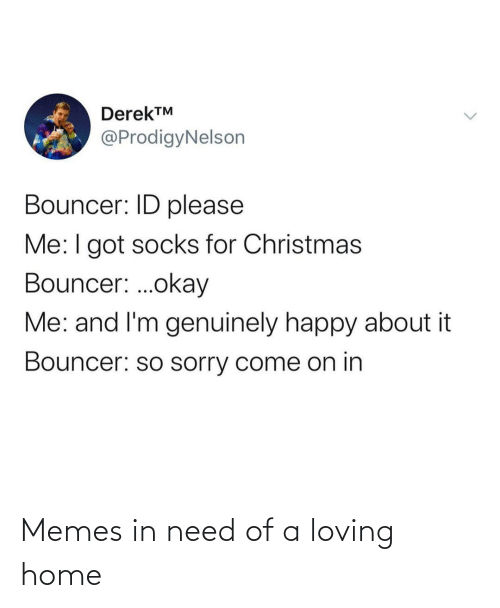 Me I: DerekTM  @ProdigyNelson  Bouncer: ID please  Me:I got socks for Christmas  Bouncer: .okay  Me: and I'm genuinely happy about it  Bouncer: so sorry come on in Memes in need of a loving home