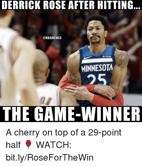 Derrick Rose, Nba, and The Game: DERRICK ROSE AFTER HITTING  @NBAMEMES  fitbit  MINNESOTA  25  THE GAME-WINNER A cherry on top of a 29-point half 🌹  WATCH: bit.ly/RoseForTheWin