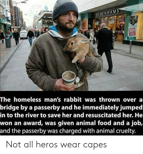 Food, Homeless, and Animal: DESENHAM  SO  The homeless man's rabbit was thrown overa  bridge by a passerby and he immediately jumped  in to the river to save her and resuscitated her. He  won an award, was given animal food and a job,  and the passerby was charged with animal cruelty. Not all heros wear capes