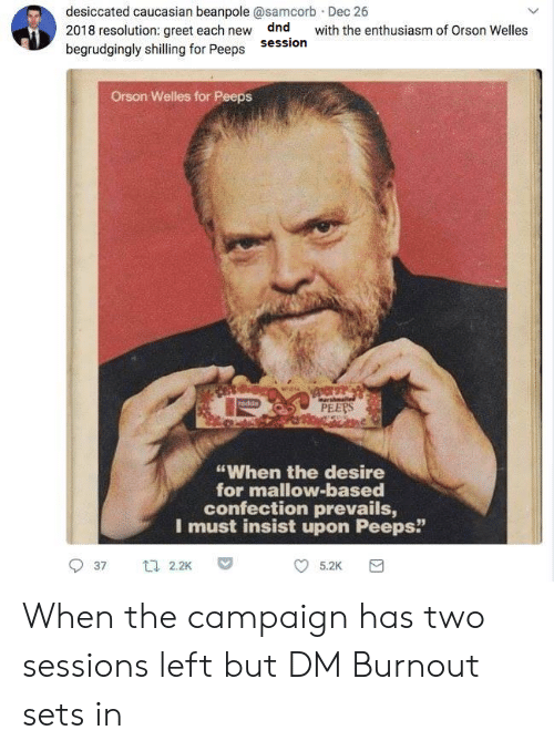 """orson welles: desiccated caucasian beanpole @samcorb Dec 26  2018 resolution: greet each new dnd with the enthusiasm of Orson Welles  begrudgingly shilling for Peeps Sessioin  Orson Welles for Peeps  PEERS  """"When the desire  for mallow-based  confection prevails,  I must insist upon Peeps""""  37 t 2.2K  5.2K When the campaign has two sessions left but DM Burnout sets in"""