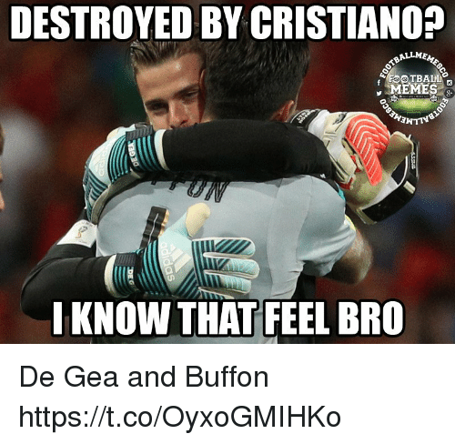 Football Memes: DESTROYED BY CRISTIANO?  ALLM  FOOTBALL  MEMES  I KNOW THAT FEEL BRO De Gea and Buffon https://t.co/OyxoGMIHKo