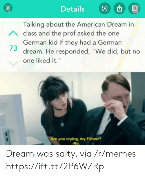 "Liked It: Details  Talking about the American Dream in  Aclass and the prof asked the one  German kid if they had a German  dream. He responded, ""We did, but no  one liked it.""  Are you crying, my Führer?  No Dream was salty. via /r/memes https://ift.tt/2P6WZRp"