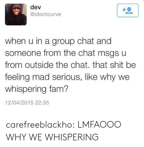Lmfaooo: dev  @idontcurve  when u in a group chat and  someone from the chat msgs u  from outside the chat. that shit be  feeling mad serious, like why we  whispering fam?  12/04/2015 22:35 carefreeblackho:  LMFAOOO WHY WE WHISPERING