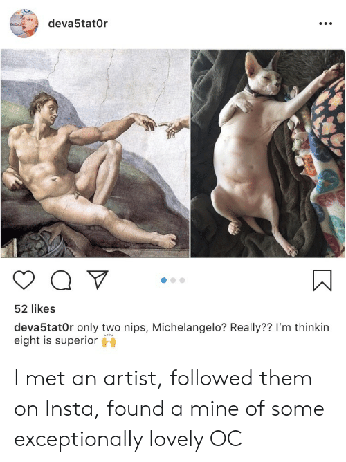 Michelangelo, Superior, and Artist: deva5tat0r  52 likes  deva5tat0r only two nips, Michelangelo? Really?? I'm thinkin  eight is superior I met an artist, followed them on Insta, found a mine of some exceptionally lovely OC