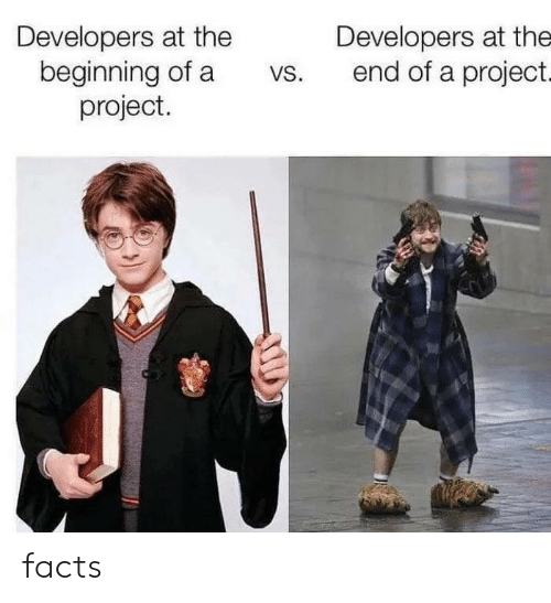 Facts, Project, and The End: Developers at the  beginning of a  project.  Developers at the  end of a project.  VS. facts