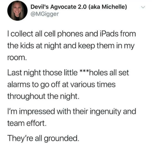 Dank, Holes, and Kids: Devil's Agvocate 2.0 (aka Michelle)  @MGigger  v  I collect all cell phones and iPads from  the kids at night and keep them in my  room  Last night those little ***holes all set  alarms to go off at various times  throughout the night.  I'm impressed with their ingenuity and  team effort.  They're all grounded