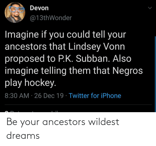 devon: Devon  @13thWonder  Imagine if you could tell your  ancestors that Lindsey Vonn  proposed to P.K. Subban. Also  imagine telling them that Negros  play hockey.  8:30 AM · 26 Dec 19 · Twitter for iPhone Be your ancestors wildest dreams